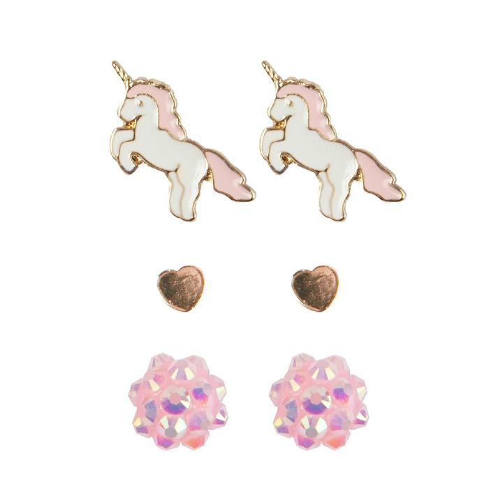 Boucles d'oreilles Boutique Unicorn Studded, 3 Sets
